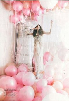 Fashion shoot with balloons.