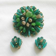 Vintage Shades of Green Art Glass and Lucite Beads Hand Wired 1940s Brooch & Earrings Set by MyVintageJewels, $46.00