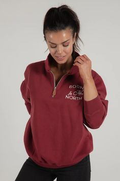Born in the North Red Quarter Zip– Wolfe Co. Apparel and Goods® Roots Clothing, Northern Canada, Northwest Territories, Northern California, Are You The One, Canada North, Northern Ireland, Ontario, Sleeves