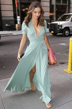 Miranda Kerr's mint green maxi dress