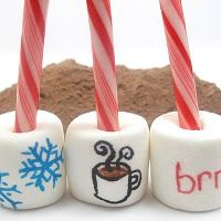 Great idea for Christmas and hot chocolate!  You use pens made for writing on food.