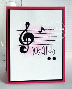 Just A Note card by Michele Boyer for Paper Smooches - Music Notes dies, Notebook Paper Two, Sentiment Sampler