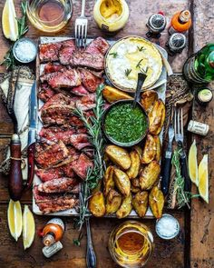Dear Lord thank you for gargantuan hunks of perfectly prepared beef ribeye steak creamy baked brie and Argentinean Chimichuri!! AMEN. #paleodinner