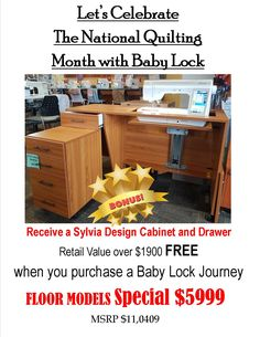 """Quilting Month with Baby Lock"""" Lets Celebrate, Cabinet Design, Drawers, Flooring, Quilts, Baby, Sewing, Dressmaking, Couture"""