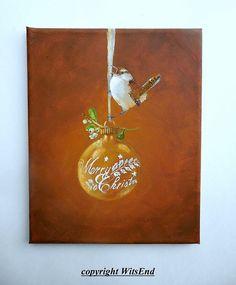 ornamento de pájaros pintura original ooak Wren y oro por 4WitsEnd