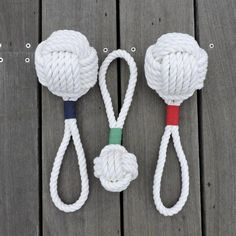 """A rope covered tennis ball for your dog. Throw it, tug it, your dog will love it! Both are tied from 3/8"""" cotton rope The large monkey fist dog toy is 4"""" and is tied around a tennis ball, this one wil"""