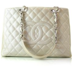 CHANEL Caviar Grand Shopping Tote GST Silver: bd18474 Fashionphile -... ❤ liked on Polyvore