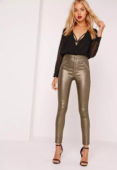 Shine on, babe! These jeans with a hi-tech metallic punch will add a blast of sass to any outfit. With a gold hue, silver front zips, high rise and skinny style with a superstretch fit, these will dramatise your silhouette. Team with a blac...