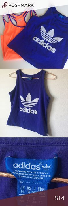 Workout tops adidas Two workout tops adidas cotton top size M orange Hind top size small adidas Tops Tank Tops