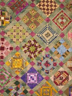 """Totally Insane"" quilt challenge, 2008 Kilmore Kwilters. This quilt has some bright blocks mixed i with neutrals. Salinda W. Rupp (Nearly Insane) quilt pattern.  Photo by Lorraine at Picasaweb"
