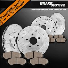 Fit 2007-2008 Mitsubishi Outlander Front Rear Plain Brake Rotors+Ceramic Pads