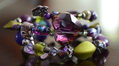 Purple & Green Beaded Bracelet by FreeToBeadYou on Etsy