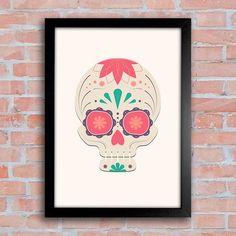 Poster Mexican Sugar Skull Grey - Encadreé Posters