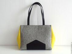 ccf28b9f6644 Купить Серо-желтая сумка из фетра и натуральной кожи - сумка из фетра, сумка  из кожи, серый