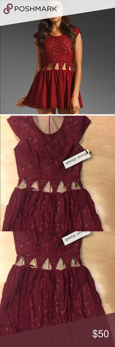 ❤️50%off Vday Sale ❤️Lovers + Friends cutout dress Amazing red lace dress with midriff cutouts. Perfect for Valentine's Day! Lovers + Friends Dresses