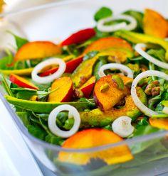 Summer Peach Balsamic Avocado Arugula Salad - Healthy. Happy. Life.