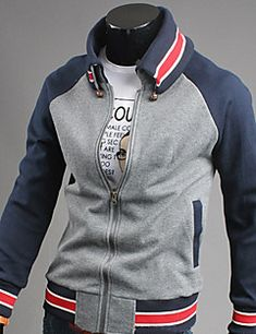 Long sleeve Varsity Jacket with Pockets Sport Fashion, Mens Fashion, Camisa Polo, Hoodie Outfit, Mens Clothing Styles, Look Cool, Mens Sweatshirts, Sport Outfits, Korean Fashion