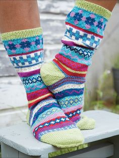 Psychedelic Sock knitting pattern from the Fair Isle & Nordic Knits book - get it at Laughing Hens