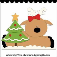 Reindeer Friends 1 Cutting File : Digital Scrapbook Kits, Cute Clip Art, Cutting Files, Trina Clark, Instant downloads, commercial use allowed, great prices.