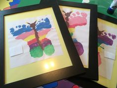 Butterfly foot prints framed for gifts