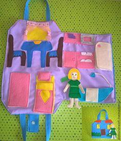 Купить Домик сумочка с куклой. - сиреневый, кукольный домик, фетр, сумка домик