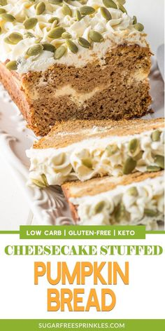 This cheesecake stuffed spiced pumpkin bread is low carb, gluten-free and keto-friendly. The pumpkin bread is moist and dense and spiced with cinnam. Low Carb Cheesecake, Cheesecake Recipes, Cookie Recipes, Keto Recipes, Dessert Recipes, Pumpkin Cheesecake, Dessert Ideas, Bread Recipes, Cookie Ideas