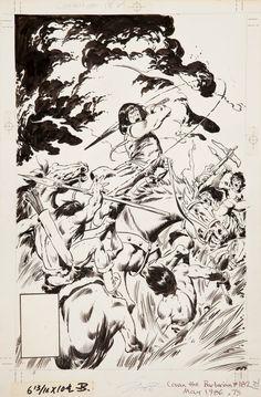 Conan the Barbarian #182 Cover by John Buscema Comic Art