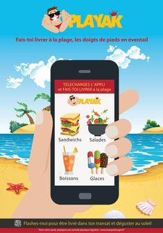 "Affiche publicitaire ""Playak"" Map, Recliner, App, Drink, Graphic Design, Location Map, Maps"