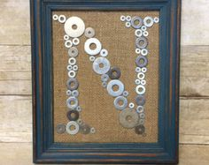 Metal Washers & Burlap Initial Letter Monogram - Distressed Shabby Chic Milk Paint Frame - Nursery - Baby