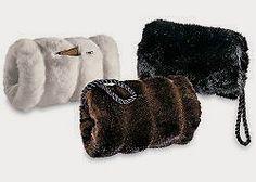 Faux fur muff + evening bag