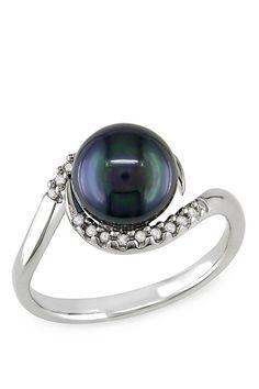 Radiant Pearls: Elegant Jewelry Designs 14K White Gold Diamond & Tahitian Pearl Ring