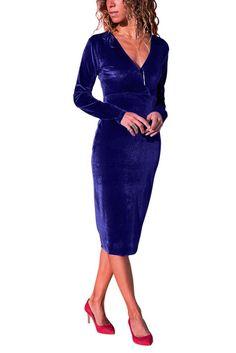 Latest women Clothing Sey Royal Blue V Neck Sleek Velvet Midi Dress