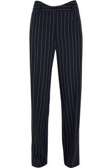 Agnona Pinstriped navy wool-blend wide-leg pants   NET-A-PORTER