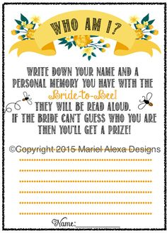 Items similar to Bridal Shower Game Who Am I? Memory Game Bride to Bee - Fun Unique Games DIY PDF Wedding Personalized Chalkboard Yellow Floral Bee Theme on Etsy Vintage Wedding Games, Vintage Theme Bridal Shower, Diy Wedding Games, Unique Bridal Shower, Bridal Showers, Vintage Games, Vintage Bridal, Bridal Shower Games Prizes, Bridal Shower Activities