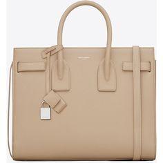 Saint Laurent Classic Small Sac De Jour Bag ($2,760) ❤ liked on Polyvore featuring bags, handbags, shoulder bags, beige leather purse, leather handbags, leather shoulder handbags, pocket purse and genuine leather purse