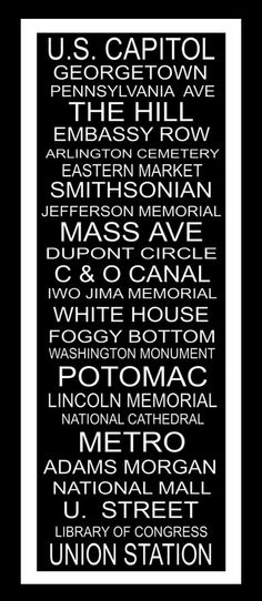 Subway Art Sign Washington DC Typography  Print  by PaperBleu