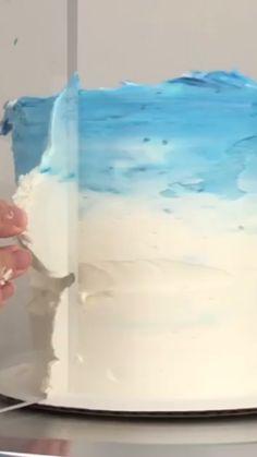 Passionate stretched cake decor easy try this Cake Decorating Videos, Cake Decorating Techniques, Cake Decorating Piping, Decorating Tips, Ocean Cakes, Beach Cakes, Frozen Birthday Cake, Beach Cake Birthday, Cake Tutorial