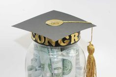 Graduation Hat on a Jar w/ Tassel
