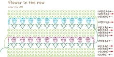 Red heart사의 프리패턴인 'Flowr in the row'를 제 방식대로 떠봤어요. 패턴 원문 다운 받기 (영문) 원...