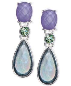 Anne Klein Silver-Tone Multi-Stone Drop Earrings