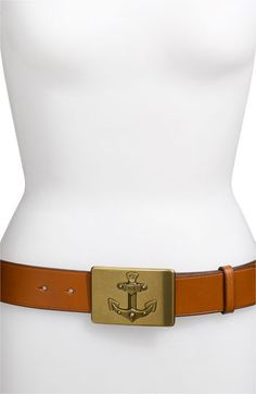 Lauren by Ralph 'Anchor Buckle' Leather Belt