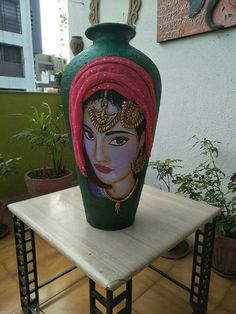 Glass Bottle Crafts, Diy Bottle, Bottle Art, Bottle Painting, Dot Painting, Ceramic Painting, Pottery Painting Designs, Paint Designs, Rajasthani Art