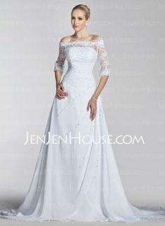 Wedding Dresses - $198.99 - A-Line/Princess Off-the-Shoulder Chapel Train Chiffon  Satin Wedding Dresses With Lace  Beadwork (002004524) http://jenjenhouse.com/A-line-Princess-Off-the-shoulder-Chapel-Train-Chiffon--Satin-Wedding-Dresses-With-Lace--Beadwork-002004524-g4524
