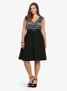 0a3af175f86c2 Floral Print Belted Swing Dress from Torrid Trendy Plus Size Clothing