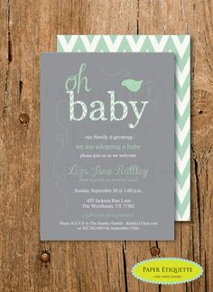 Mint and Gray Adoption, Growing Family, Sip and See, Sprinkle or Baby Shower Chevron Invitation - Print Your Own by PaperEtiquette on Etsy