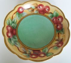 Limoges France Currants Fruit Dish with Gold Rim c 1910 from thecherishedhome on Ruby Lane