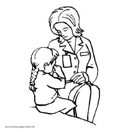 doctor and child doctors hospital coloring page family people jobs coloring pages color