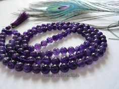 Natural Amethyst Necklace 8mm Amythest Beads Dark Purple Color 108 Beads Rosary