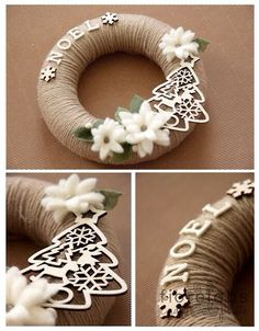 Corona de Navidad - Christmas Weath - site is in Italian, but there is a translator. I'm guessing wrapping yarn/jute around a styrofoam wreath. Use of a Sizzix, cut wood imbelishments, and purchased flowers. Wreath Crafts, Diy Wreath, Christmas Projects, Holiday Crafts, Twine Wreath, Christmas Makes, Christmas Holidays, Christmas Ornaments, Christmas Door