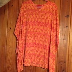 Boutique Shirt Orange and pink shirt could also be worn as a dress but I wear it with skinny jeans Tops Blouses